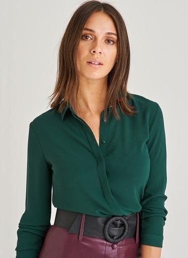 People By Fabrika Klasik Gizli Patlı Gömlek Yeşil